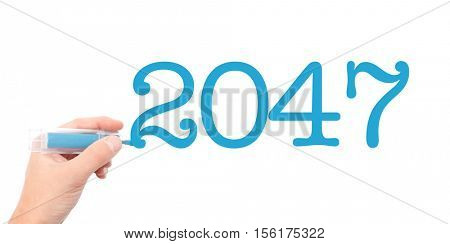 The year of 2047written with a marker