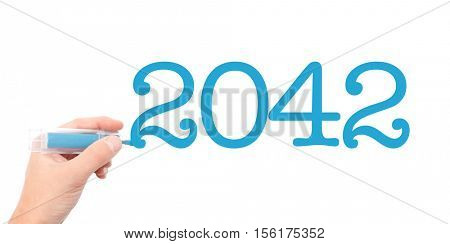 The year of 2042written with a marker
