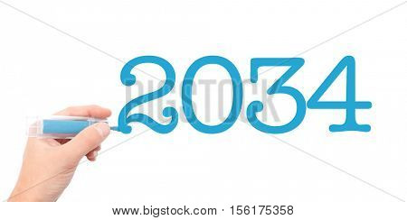 The year of 2034written with a marker