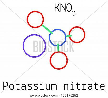 KNO3 Potassium nitrate molecule isolated on white