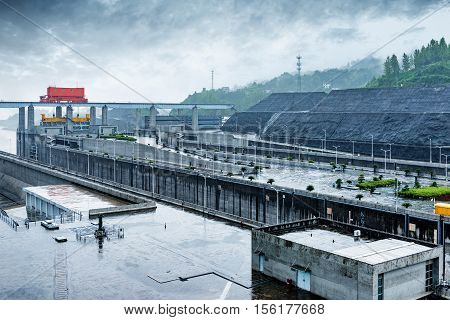 China Yangtze River Three Gorges Dam in the rain.