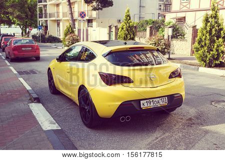SOCHI, RUSSIA - APRIL 29, 2016: Opel Astra parked on the streets of Sochi.