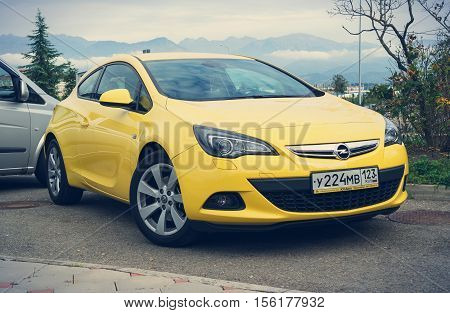 Sochi, Russia - October 11, 2016: Opel Astra parked on the street of Sochi.