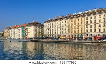 Geneva, Switzerland - 24 September, 2016: the Rhone river and buildings along it. The city of Geneva is the capital of the Republic and Canton of Geneva, being the second most populous city in Switzerland.