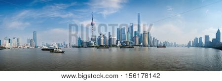Shanghai, China - Nov 14, 2016: Panorama view of the Pudong District