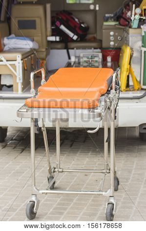 stretcher ambulance prepare accident case selective focus stretcher and blur background