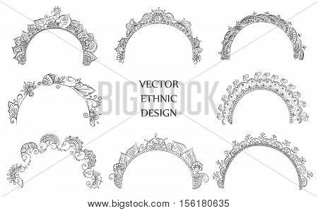 Vector set of semicircular tattoo henna pattern. Isolated pattern for design on white background.