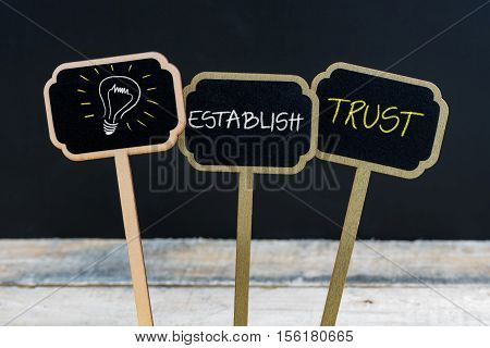 Concept Message Establish Trust And Light Bulb As Symbol For Idea