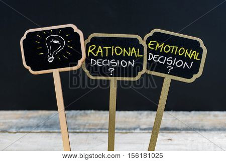 Concept Message Rational Decision Versus Emotional Decision And Light Bulb As Symbol For Idea