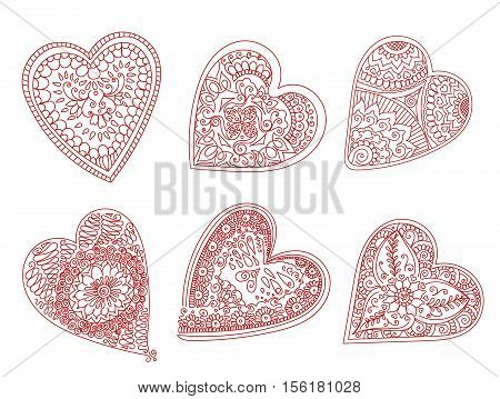 Abstract pattern of tattoo henna hearts. Stock mehndi set for design on white background. Vector hearts for Valentines day