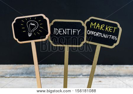 Concept Message Identify Market Opportunities And Light Bulb As Symbol For Idea