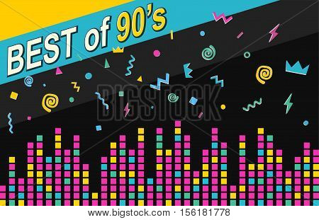 Best of 90s retro poster. Sound waves equalizer scale on dark background.