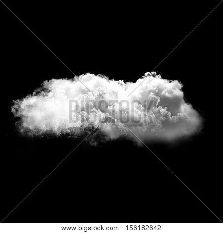 Single white fluffy cloud flying over black background 3D rendering illustration