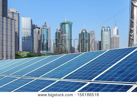 Shanghai urban landscape landmarks and solar panels