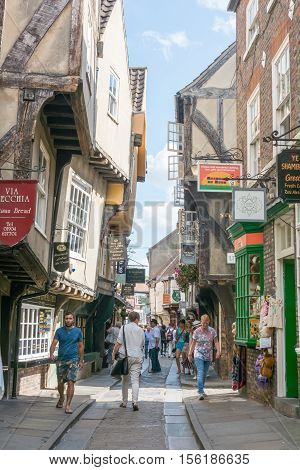 York, England - 20 July 2016 : People Walking On The Street Of The Shambles, Inspiration Of Diagon A