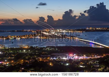 Sint Maarten St. Martin Airport Caribbean At Night