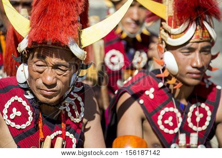 KOHIMA, NAGALAND/INDIA - DECEMBER 4, 2013: Tribesmen of Nagaland at the annual Hornbill festival. The Hornbill is also known as the Festival of Festivals'.