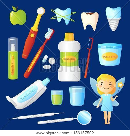 Teeth care set with dentist and health symbols on blue background flat isolated vector illustration