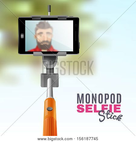 Man taking selfie on mobile phone with monopod stick cartoon vector illustration