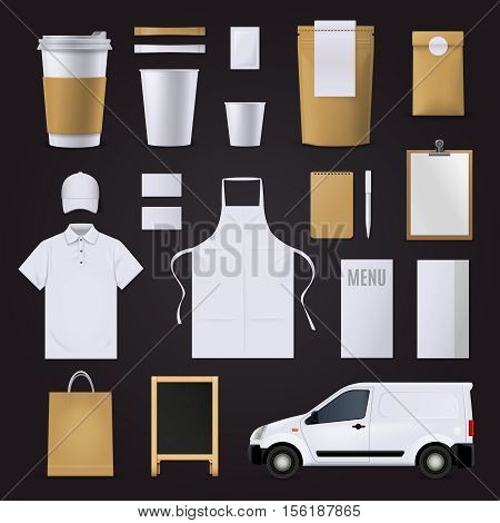 Blank coffee corporate indentity business template set in brown and white colors for cafe isolated on black background flat vector illustration