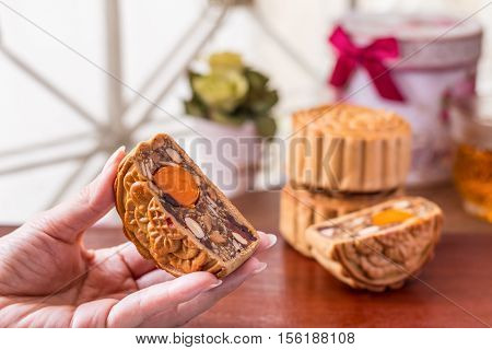 Moon Cake In Woman Hands