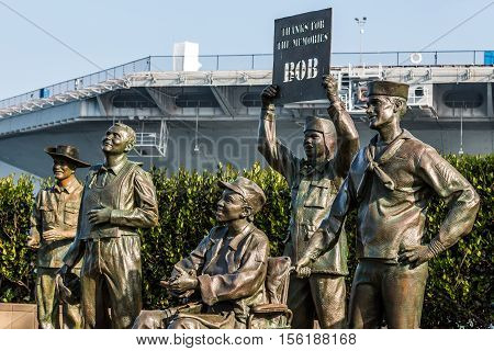 SAN DIEGO, CALIFORNIA - FEBRUARY 29, 2016: Bronze statues of US military personnel in artwork entitled,