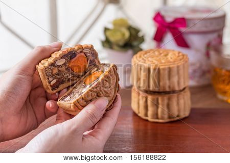 Moon Cake In Woman Hands