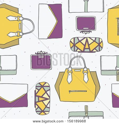 Seamless vector illustration with cute yellow purple and grey handbags and clutches in fashion stylish pattern. Hand drawn background drawn with imperfections on white dotted background