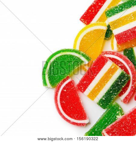 colorful jelly candies isolated on white. top view
