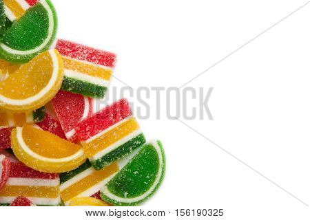 Sweets frame. colorful jelly candies isolated on white
