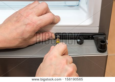 tightening the screw with a screwdriver closeup