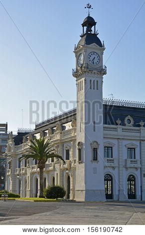 Port Authority buildings on harbourside in Valencia Spain