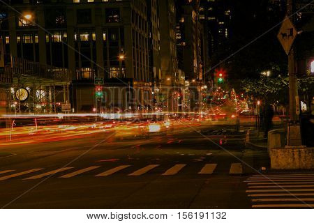 City in the night, traffic with interesting lights