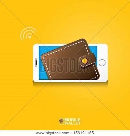 vector digital mobile wallet vector concept icon. smartphone screen with wallet on screen. Internet banking concept. wireless money transfer. poster
