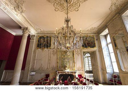 PARIS FRANCE SEPTEMBER 07 2016 : interiors and details of hotel de Soubise archives nationales september 07 2016 in Paris France