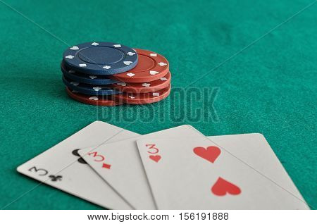 Poker chips with cards that is out of focus