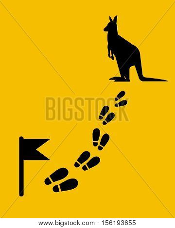 Find kangaroo on the map. Footstep with flag. Flat style.