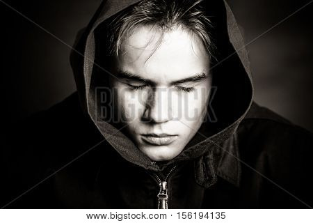 Black And White Image Of Teen Boy With Eyes Shut