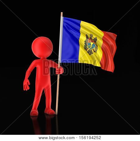 3D Illustration. Man and Moldavian flag. Image with clipping path