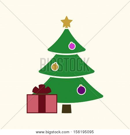 Christmas tree with balls star gift. Cartoon icon. Green silhouette decoration sign isolated on white background. Flat design. Symbol holiday Christmas New Year celebration Vector illustration