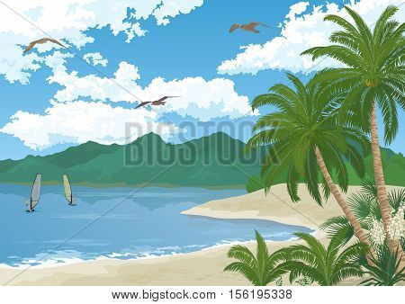 Tropical Sea Landscape, Summer Beach with Green Palm Trees and Exotic Yucca Flowers, Sportsman Surfers, Mountains, Birds Gulls in the Blue Sky with White Clouds. Eps10, Contains Transparencies. Vector