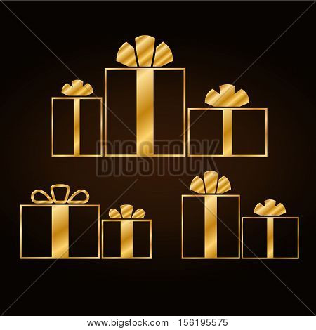 Christmas gold gifts set with ribbon icon. Giftbox golden flat sign decoration isolated on black background. Symbol New Year celebration presents surprise birthday holiday. Vector illustration