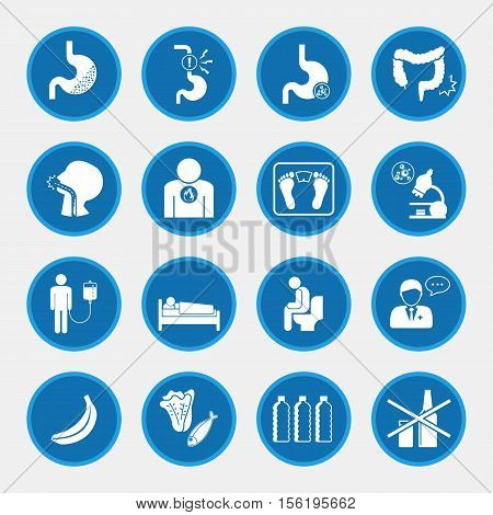 Esophageal cancer, Vector  icons blue button for infographic
