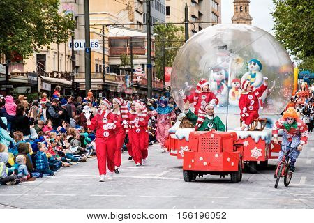 Adelaide South Australia - November 12 2016: More than 250.000 came to the city centre to see 172 colourful sets of floats bands dancers clowns and Father Christmas. The Credit Union Christmas Pageant is one of the biggest events in South Australia