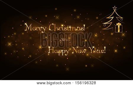 Merry Christmas and Happy New Year gold text. Holiday background. Golden type decorative design for card banner greeting vintage decoration. Symbol of celebration holiday. Vector illustration