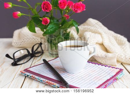 Warm Knitted Plaid, Glasses, Coffee, Notebook And Pensil