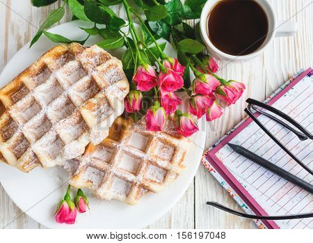 Pink Roses, Coffee, Notebook, Pensil And Belgium Waffles