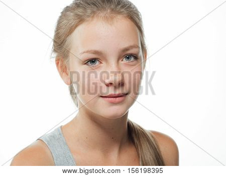 Teenager Girl Cute Beautiful Freckles Face On White