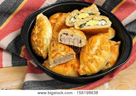 Russian Pirozhki Baked Patties With Meat And Eggs