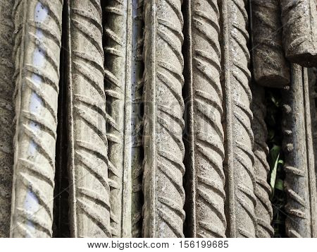 corrugated steel bars reinforcing at a stock - metalic background